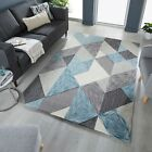 ZEST ICON GEOMETRIC HAND CARVED SOFT THICK BLUE OCHRE MAUVE TERRACOTTA RUG