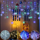 96LEDs Curtain Icicle String Snowflake Fairy Light Garland Xmas Outdoor Party US