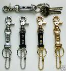 GOLD / SILVER MINI TRIGGER SNAP LEATHER KEYRING KEY FOB