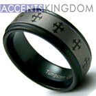9MM MENS BLACK TUNGSTEN CARBIDE CROSS WEDDING RING BAND