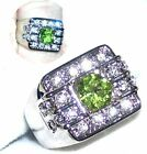 Men's 2c Genuine Peridot Platinum Overlay Ring