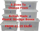 NEW British Made Clear Plastic Storage Box Boxes With Lids SIZE CHOICE