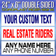 10 custom REAL ESTATE realtor rider signs - on white 4mm corrugated plastic