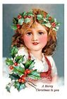 Christmas Girl Holly Greetings Quilt Block Multi Sizes