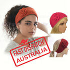 Crochet Knit Knitted Headband Head Hair Band Ear Warmer Knitted Flower Button