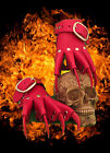 Red Devil Leather Claw Gauntlets Gothic Gloves