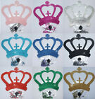FABRIC GLITTER CROWN + RHINESTONE IRON-ON FASHION TSHIRT TRANSFER APPLIQUE PATCH