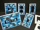 BLUE CAMO CAMOUFLAGE #1  LIGHT SWITCH OR OUTLET COVER