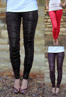 Rats Chilli Chocolate Ruched Wet Look Leggings UK 8 - 20