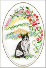 Short Haired Black & White Cat Rainbow Bridge Card Card Embroidered by Dogmania