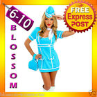 E83 Retro 60s 70s Stewardess Flight Attendant Air Hostess Fancy Dress Costume