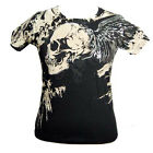 Men's Foil Winged Skull Artful Couture Printed Black Short Sleeved Tshirt Top