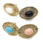 Fashion Cute Candy Color Elliptical Big Gem Stone Adjustable Ring