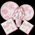 GIRL BABY SHOWER PARTY PINK STITCHING ALL ITEMS LISTED PLATE NAPKINS DECORATIONS