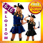 F79 Ladies Navy Blue Police Officer Cop Uniform Fancy Dress Party Costume + Hat
