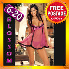 BB79 Sexy Pink Baby Doll Dress Babydoll Nightie Slip Chemise Plus Lingerie 6-20