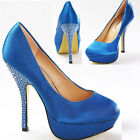 Ladies Turquoise Diamonte Studded Heel Platform Party Court Wedding Shoe