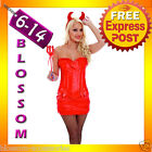 G37 Ladies Devil Fancy Dress Horror Halloween Costume Outfit Corset, Horns, Fork