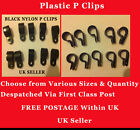 BLACK PLASTIC NYLON P CLIPS AUTOMOTIVE CABLE PIPE CLAMPS TUBING MULTIPLE SIZES