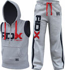 RDX Fight Me Tracksuit Trousers Vest Hoodie MMA Gym Boxing Grey Pant Shorts Mens
