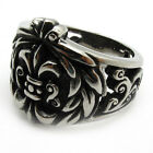 Mens PUNK gothic stainless steel royal knight badge Fleur De Lis party ring