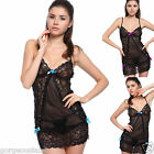 Naughty Floral Lace Bow Accent Babydoll Chemise Teddy Mini Dress Nightie Thong