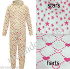CHILDRENS GIRLS LOVE HEART,STAR,PRINT ONESIE ONE PIECE HOODED JUMPSUIT SLEEPSUIT