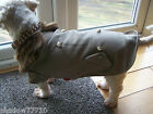 luxury brown double breasted dog coat with fur collar & press stud fasteners