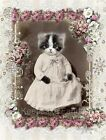 Whimsy Dust Victorian Cat & Roses Quilt Block Multi Szs FrEE ShiPPinG WoRld WiDE