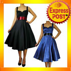 RK28 Retro 50s Satin Swing Dress Rockabilly Tattoo Pin Up Gothic Formal Evening