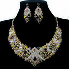 Vintage Women's Bling Jewellery Pendant Earring Necklace Set Shining Crystal NEW