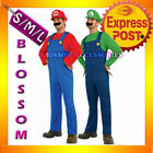 J13 Mens Super Mario Luigi Brothers Nintendo Fancy Dress Up Party Costume + Hat