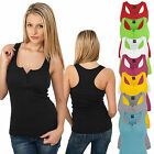 URBAN CLASSICS DAMEN LADIES BUTTON TANKTOP T-SHIRT TOP SHIRT 8 FARBEN XS - XL