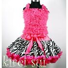 Zebra Hot Pink Pettiskirt Ruffles Top Pageant 2pcs Birthday Party Dress 1-10Y