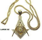 Men's Iced Out Crystal Mason Masonic Compass Pendant Franco Chain Hip Hop Gold
