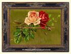 PINK & RED ROSES on antiqued gold background Cottage Vintage Antique ART PRINT