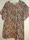 New 2 pocket VNECK scrubs top  65%poly 35%cotton FLORAL PRINT #11  size 1x