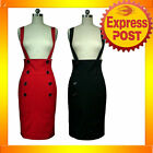 RK41 High Waist Suspenders Work Pencil Skirt Pin Up Mod Rockabilly Black or Red