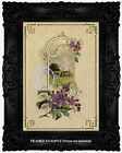 Victorian Art Nouveau Border LILACS Country Church Scene Vint. Antique ART PRINT