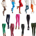 Womens Candy Color High Waist Leggings Pants Stretch Pencil Slim Fit Trousers
