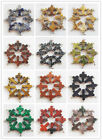 CJ-23 8pcs Beautiful Carved mixed stone Cross Pendant bead