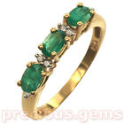 18ct Gold Plated Sterling Silver EMERALD & DIAMOND Dress Ring ~ Bargain!!
