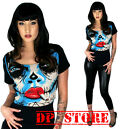 TOO FAST CROP TOP PIN UP GOTHIC PUNK EMO ROCKABILLY PIN UP ZOMBIE SKULL SHIRT