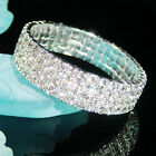 Bridemaid Prom 3 / 4 / 5 / 6 / 9 Rows Simulated Diamond Silver Stretch Bracelet