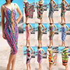 Sexy Women Open-back Wrap Front Beach Dress Cover Up M0612