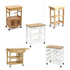 Kitchen Garden BBQ Wooden Food Drinks Serving Trolley Cart Tray Table On Wheels