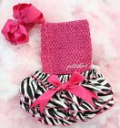 Newborn Baby Zebra Ruffles Bloomers Hot Pink Tube Top Bow Headband 3pc NB-24M