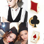 Punk Gothic Poker Design Decorative Pin Brooch Wintersweet Shirt Hat Breastpin