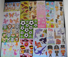 Party bag filler sticker sheets 1,2,3,4,5,6......24 FREE POSTAGE many designs.