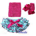 Baby Girls Blue Chevron Hot Pink Satin Ruffles Bloomers Top Bow Headband NB-24M